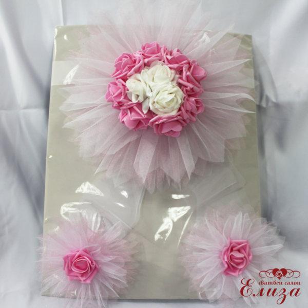 Сватбена украса за кола в розово E6